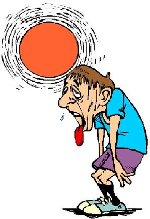 Man panting in the hot sun.